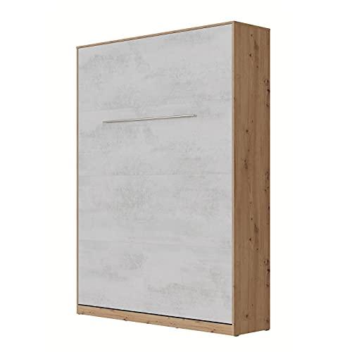SMARTBett Standard 140x200cm Vertical Roble Salvaje/Concreto   Cama Abatible, Cama De Pared, Cama Plegable, Cama Oculta