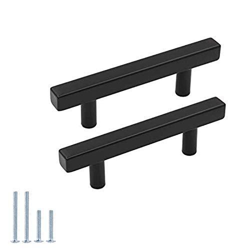 goldenwarm 10Pack Black Cabinet Pulls 3 inch Black Drawer Pulls Modern Kitchen Hardware Stainless Steel Cabinet Hardware for Dresser Cupboard