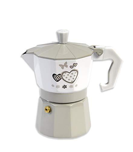 Vetrineinrete Caffettiera Fango e Bianco Shabby Chic Moka 2 o 3 Tazze Macchina del caffè in Alluminio per Espresso Idea Regalo (2 Tazze) M31