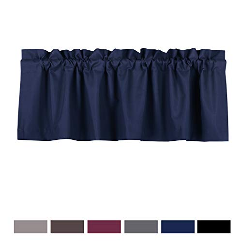 Valea Home Blackout Valance Curtains Waterproof Soft Rod Pocket Valance for Kitchen and Bathroom Window Room Darkening Valances for Bedroom, 52 inch x 18 inch, Navy Blue
