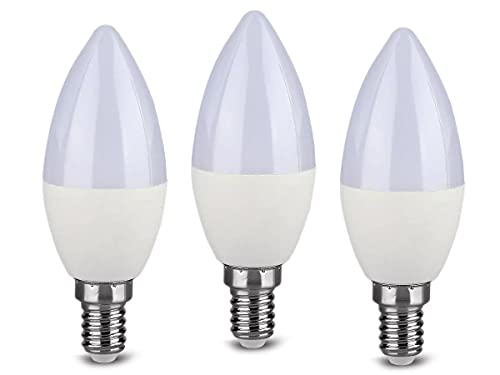 3 Pezzi Lampadine Led E14 Dimmerabile, 220V 5.5W=40W 470 Lumens, Forma Candela C37, Bianco Caldo 3000K