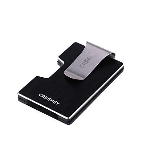 CaseKey, porta-tessere minimal in metallo con blocco RFID, tasca porta carte di credito, protezione da NFC, sottile, da uomo