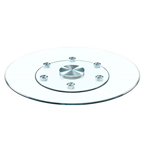 XIAZI 80cm (30 Inch) Large Glass Rotating Lazy Susan Turntable Serving Plate, Round Tempered Glass Tabletop Rotating Serving Tray for Dining Table, Anti-tilt Auxiliary Wheels,Φ 80 cm (30 inch)