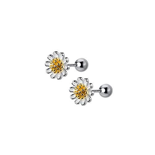 18G Cute Daisy Flower Cartilage Stud Earrings Sterling Silver for Women Girls Dainty Helix Tragus Earring Labret Studs Barbell Screw Back Ear Piercing Jewelry Gifts Hypoallergenic BFF