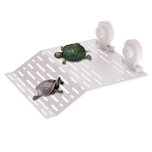 Mein HERZ Tortuga Plataforma, Lsla Flotante para Tortuga o Reptil con Ventosas para Acuario o Tanque, Plástico Tortuga del Muelle del Embarcadero Basking Plataforma, para Animales Semiacuáticos