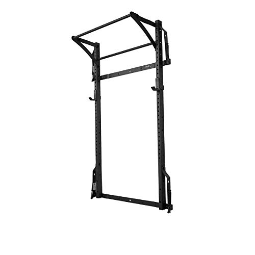 Murphy Rack Fold Up Wall Mounted Folding Squat Rack Space Saving Power Stand with Pull Up Bar Home Gym Equipment (Textured Black Powder Coat)