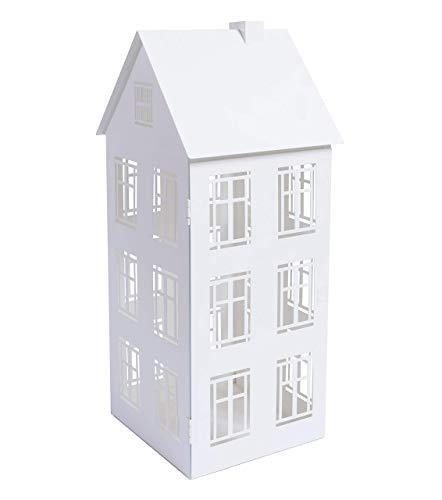 Lanterne Décorative en Métal - Lanterne de Maison pour Intérieur ou Extérieur - Résistant - Blanc 20,7 x 19,5 x 47x5 cm