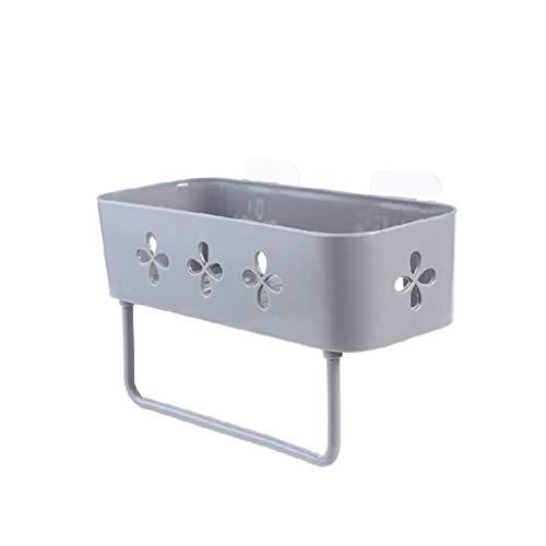 ZHENYANG Montado en la Pared de plástico Caja de Almacenamiento Gratuito de perforación Cocina Baño de Almacenamiento en Rack Basket (Gris)
