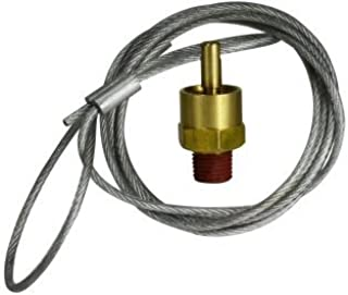Midland 39596 Brass Drain Cock Air Tank Drain Pull Valve with 4' Nylon Coated Pull Cable, 1/4