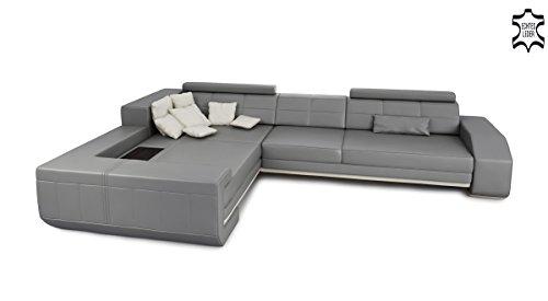 Bullhoff by Giovanni Capellini Leder Wohnlandschaft Eckcouch Sofa Couch Ledersofa Ledercouch Design Ecksofa L-Form mit LED-Licht Beleuchtung BENZO