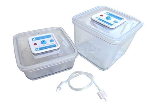Gastroback 46111 Vakuumier-Behälterset 2 TLG. (eckig), 1,0 Liter (18 x 18 x 8, 2,8 Liter (18 x 18 x 15,5 cm), Kunststoff, sonstige