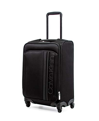 Calvin Klein Path Softside Spinner Luggage with TSA Lock, Black, 22 Inch