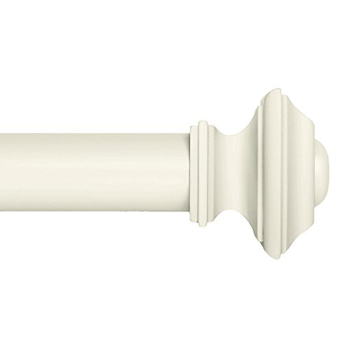 Ivilon Drapery Window Curtain Rod Set - Square Design 1 1/8 Rod. 48 to 86 Inch. Ivory/White
