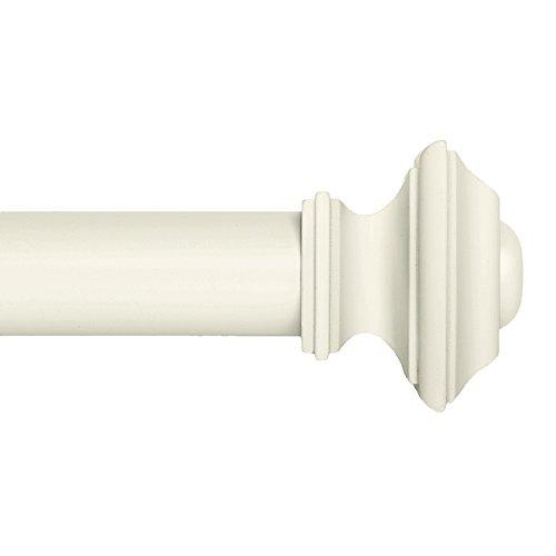 Ivilon Drapery Window Curtain Rod Set - Square Design 1 1/8 Rod. 48 to 86 Inch. Ivory/White