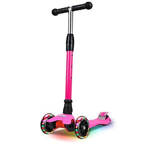IMMEK - Patinete infantil con 3 ruedas para principiantes, para niños de 3 a 12 años, ideal para el aprendizaje, manillar ajustable y ruedas luminosas, color rosa