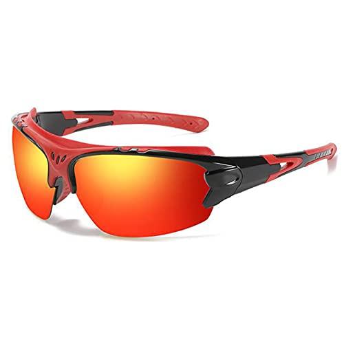 JSJE Gafas de Sol polarizadas TR90 Goggles Shades Lentes Hombres Mujeres Apto para Ciclismo Pesca Deportiva (gradiente Rojo-Amarillo)