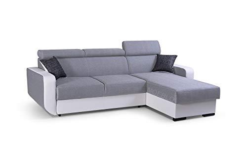 mb-moebel Ecksofa mit Schlaffunktion Eckcouch mit Bettkasten Sofa Couch Wohnlandschaft L-Form Polsterecke Pedro (Hellgrau + Weiß, Ecksofa Rechts)