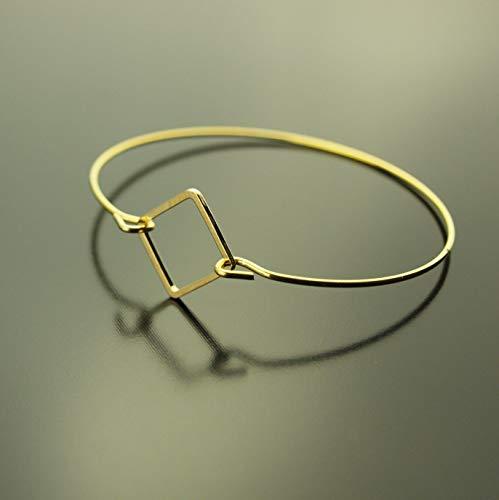 Armreifen Viereck Quadrat geometrisch schlicht Armband golden Juvelato