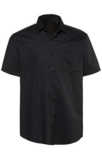 JP 1880 Herren große Größen bis 8XL, Halbarm-Hemd, Businesshemd, Popeline-Gewebe, bügelfrei, Kent-Kragen, Brusttasche schwarz XL 713990 10-XL