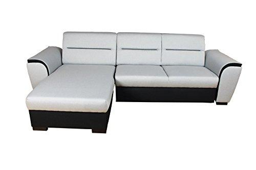 AVANTI TRENDSTORE - Divano letto con box compreso in similpelle con tessuto nero/grigio chiaro, ca. AxP 254x163cm