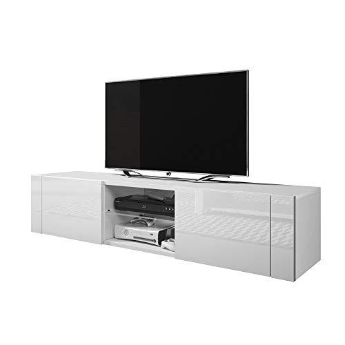 Elegant Meuble TV Bas (140 cm, Blanc Mat/Blanc Brillant)