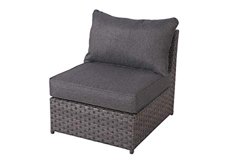 SunHaven Cromwell Grey Outdoor Conversation Set Fully Assembled Wicker Rattan Grey Cushion Olefin Fabric Weatherproof Clips Included (Armless Middle Chair)