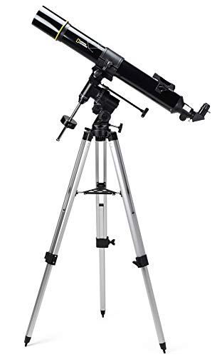 National Geographic Refraktor Teleskop 90/900 mm mit äquatorialer Montierung und Aluminiumstativ inklusive Zubehör