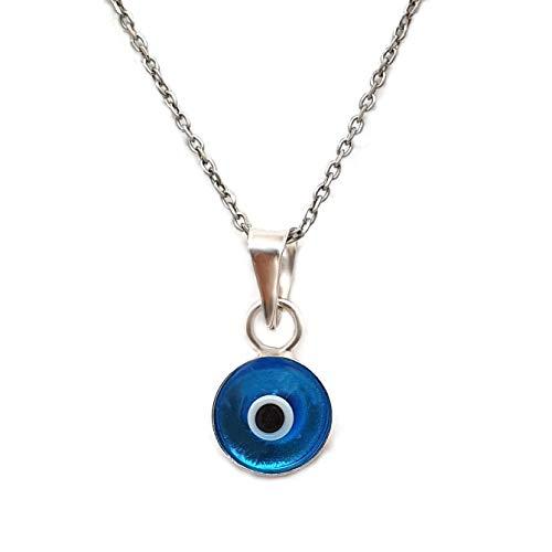 MYSTIC JEWELS by Dalia - Collana con occhio di cristallo blu per la buona fortuna, in argento Sterling 925, catena da 40 a 45 cm di lunghezza, da regalare con protezione per il malocchio (Azzurro)