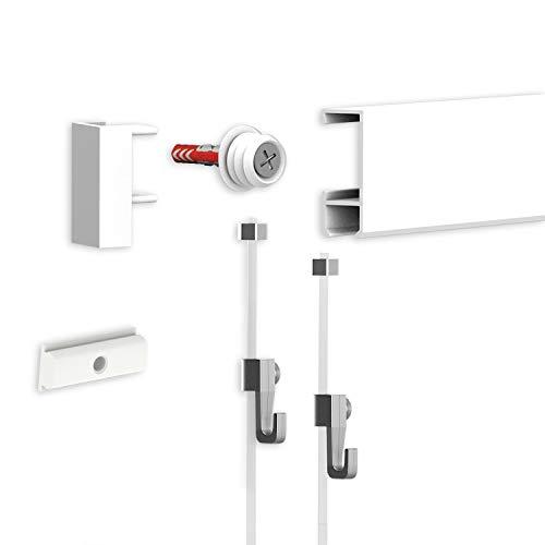 hang-it Bilderschienen Galerieschienen 1 Meter in Weiß - komplettes Set inkl. Perlonseile und Bilderhaken