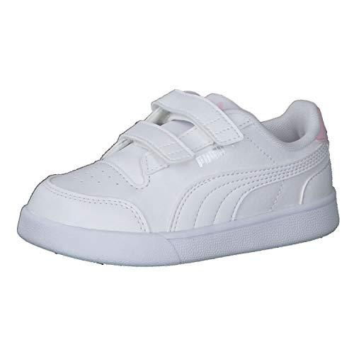 Puma Shuffle V Inf, Scarpe da Ginnastica Unisex-Bimbi 0-24, White White/Pink Lady, 23 EU