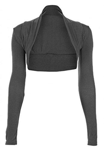 ZJ Clothes Womens Long Sleeved Bolero Shrug Charcoal