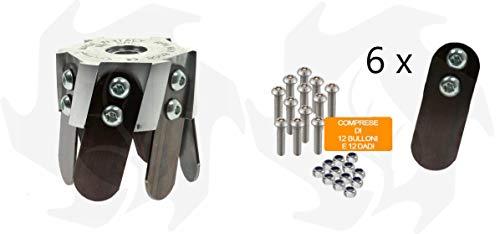 Fresa azada cabezal universal de aluminio para desbrozadora de terreno profesional + cuchillas de repuesto