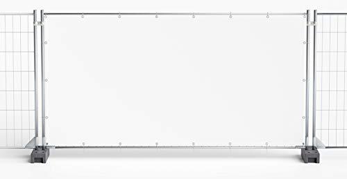 Bauzaunplane Sichtschutzplane Zaunblende Sichtschutz Sichtblende, weiß, 1,76 x 3,41 m, 5 Stück