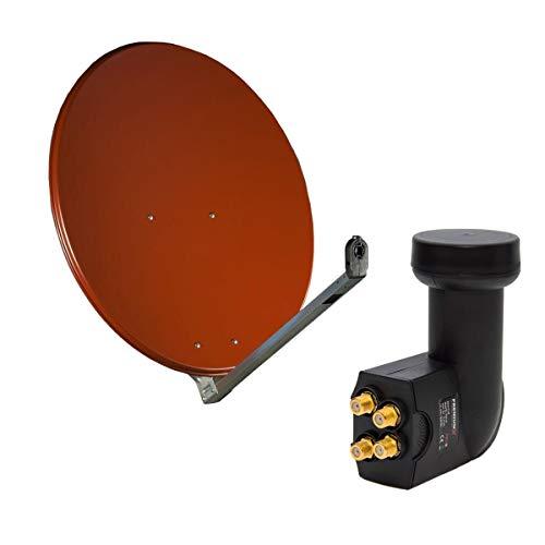 Gibertini 75-80 cm ALU DIGITAL Ziegelrot Sat Anlage Schüssel Spiegel Antenne + PremiumX Quad LNB HDTV 4K für 4 Teilnehmer