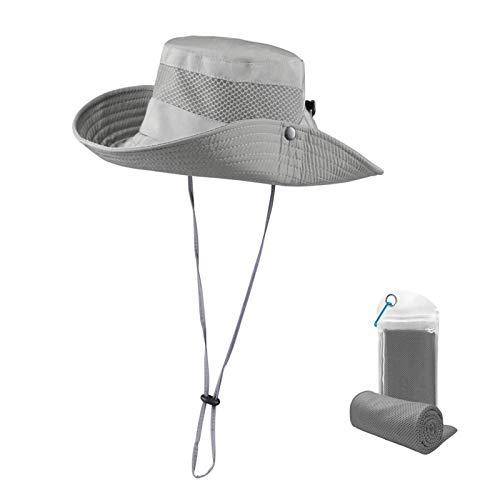 Wasserfester Sonnenschutz, breite Krempe, Boonie-Hut, LSF 50+, Sonnenschutz, Netz, Safari-Kappe für Angeln, Gartenarbeit, Golf (grau)