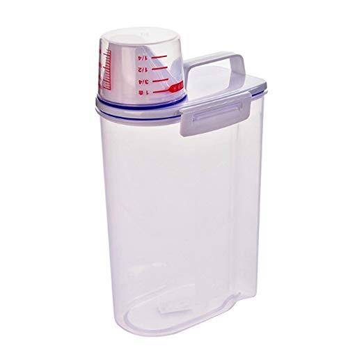 Recipientes para cereales Cocina Grano Azúcar Harina Almacenamiento Farras Botella Transparente Transparente con recipiente de copa de medición Caja de almacenamiento de cubo de arroz sellado 3L Conju