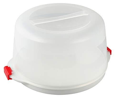 Dr. Oetker Kuchenbox, Party- und Tortenbutler mit Tragehenkel und Fach für Kühlakkus, runder Kuchenbehälter mit Servierboden (Kuchentransportbox: Ø 38,5x19 cm), Menge: 1 Stück