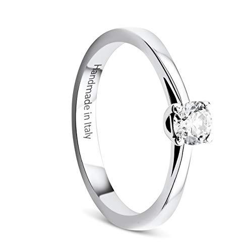 Orovi Damen Ring Weißgold 0.25 Ct Solitär Diamant Verlobungsring 14 Karat (585) Gold und Diamant Brillanten Ring Handgemacht in Italien
