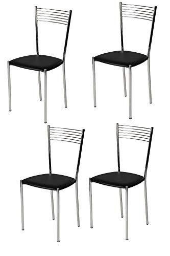 Tommychairs - Set 4 sillas Elegance para Cocina, Comedor, Bar y Restaurante, Estructura en Acero Cromado y Asiento tapizado en Polipiel Color Negro