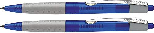 Schneider Loox Druckkugelschreiber (Soft-Grip-Zone, dokumentenechte Mine, Strichstärke M) 2er Blisterkarte,  Schaftfarbe: blau