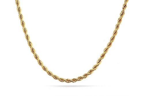 Vnox - Collana in acciaio inox placcato oro 18K, da uomo, tipo: catena a forzatina con maglie di 2mm, lunghezza 45,7cm, acciaio inossidabile, colore: Gold(Rope Chain), cod. NC-039G