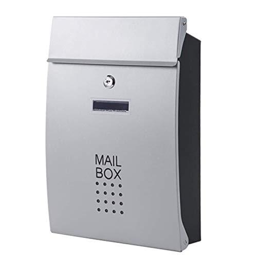 LANXIAO LXYW Außenbriefkasten, Edelstahl Außen Wand befestigter Briefkasten mit Key Lock, Wasserdicht Geeignet for Haus oder Büro (Color : Silver)