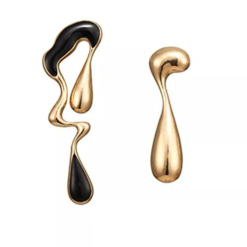 Pendientes asimétricos de aleación Oro Color negro Arte Símbolo abstracto Pendientes colgantes