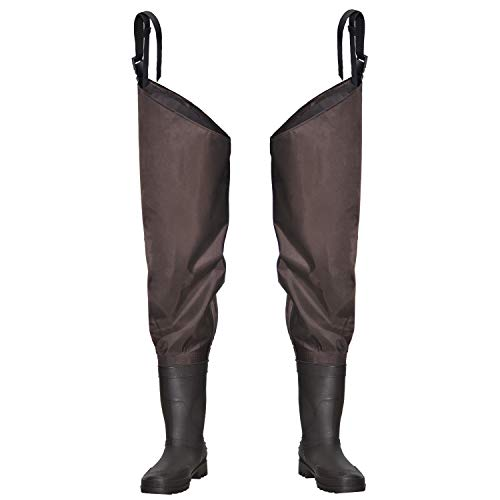 OXYVAN Hip Waders Lightweight Hip Boot Fishing Waders for Women 2-Ply PVC/Nylon Waders for Men with Boots (Green and Brown)