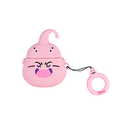 Ultra Thick Soft Silicone Pink Majin Buu Case with Finger Strap for Apple Airpods 1 2 Air Pods Wireless Earbuds Protective 3D Cartoon Dragon Ball Z Fun Cool Kids Teens Girls Boys