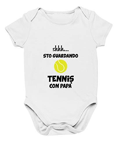 Colorfamily Body da Neonato Sssh. STO Guardando Tennis con papà - Sport - Body Simpatico e Divertente - Idea Regalo