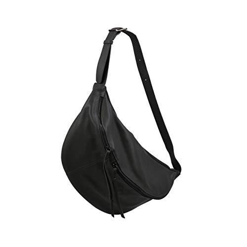 SH Leder echt Leder Damen unisex Brusttasche für Festival Reise gross Hüfttasche Crossbody Bag Frauen Ledertasche 49x28cm Daniela G768 (Dunkel Grau)