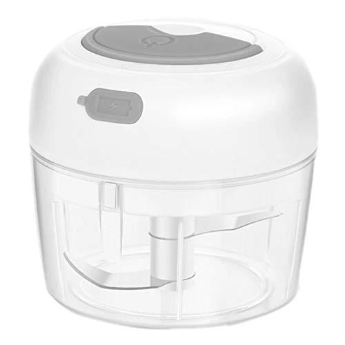 Fransande Picadora de ajos lectrica, pequeño robot Culinario, molinillo de especias inalámbrico en jengibre y conejos, picadora de cocina con USB, color blanco