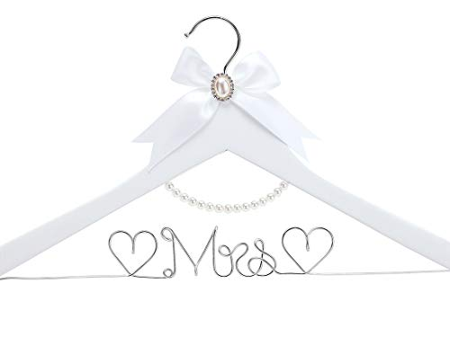 White Solid Wood Bridal Dress Hanger with Lady Wire Lettering for Bridal Wedding Party Gift Silver Thread and Pearl Chain White Hanger