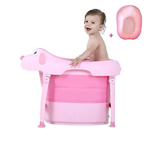 Baby badewanne Neugeborenen Faltbare Baby badewanne pad & stuhl & regal badewanne neugeborenen sitz infant unterstützung Kissen badematte matte -Geeignet für Kinder von 6 Monaten bis 10 Jahren,Pink
